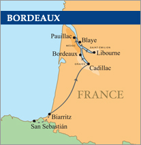 Basque and Bordeaux River Golf Cruise map