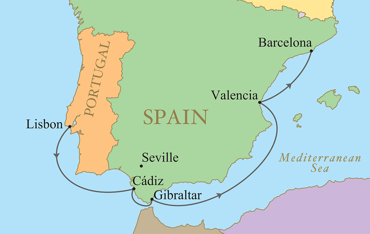 Map Of Southern Spain And Portugal.Spain Portugal Golf Vacation Kalos Golf Cruises