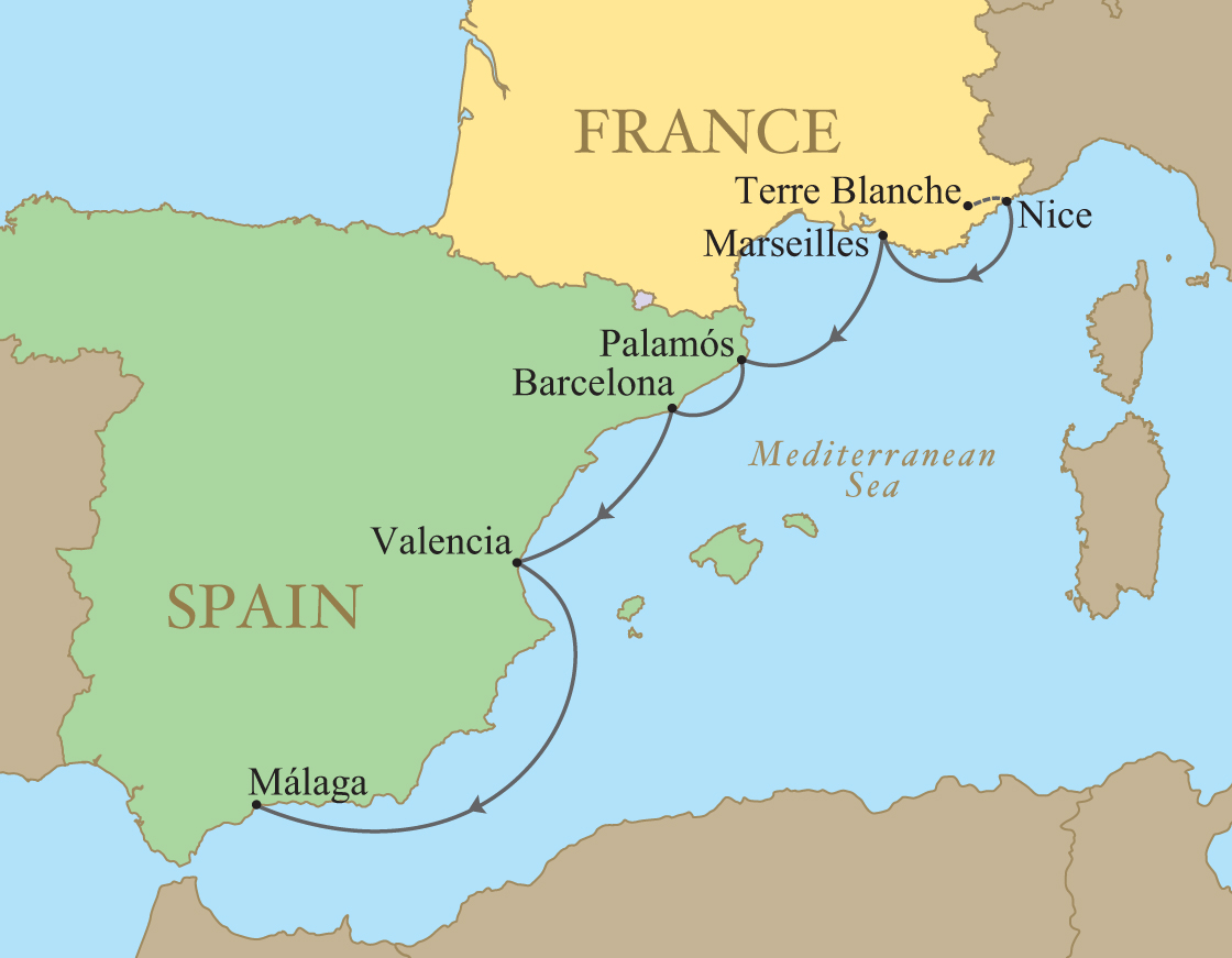 Coast Of Spain Map.Spain Golf Vacation Kalos Golf Cruises